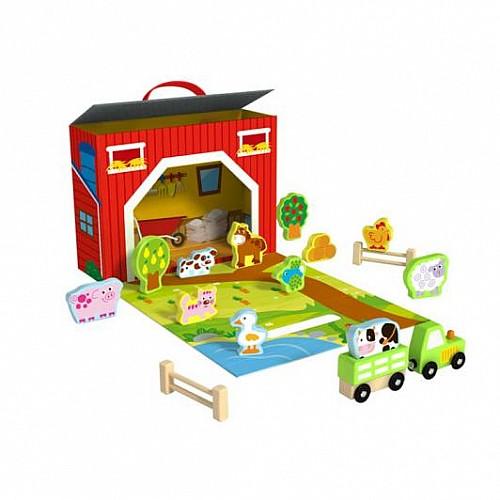 Дървена преносима ферма от Tooky Toy